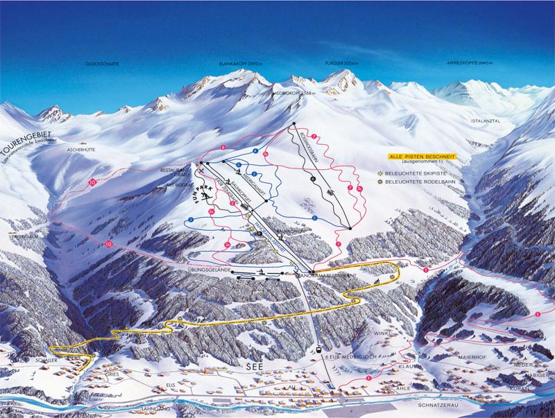 Lyžařská mapa sjezdovek areálu See