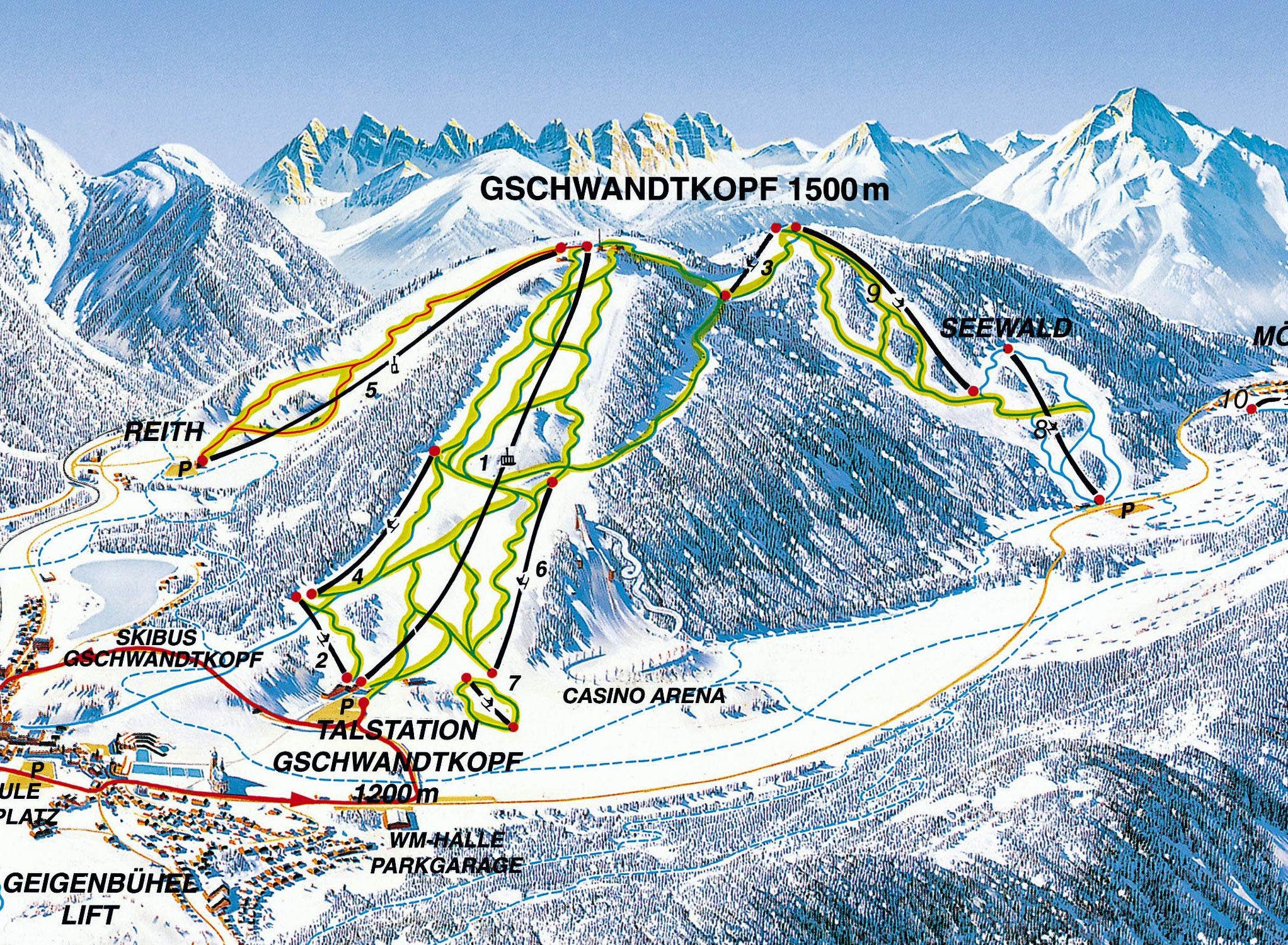 Lyžařská mapa sjezdovek areálu Seefeld - Reith / Gschwandtkopf