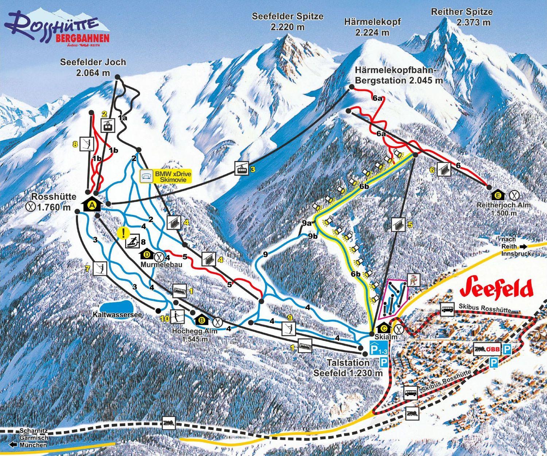 Lyžařská mapa sjezdovek areálu Seefeld / Rosshütte
