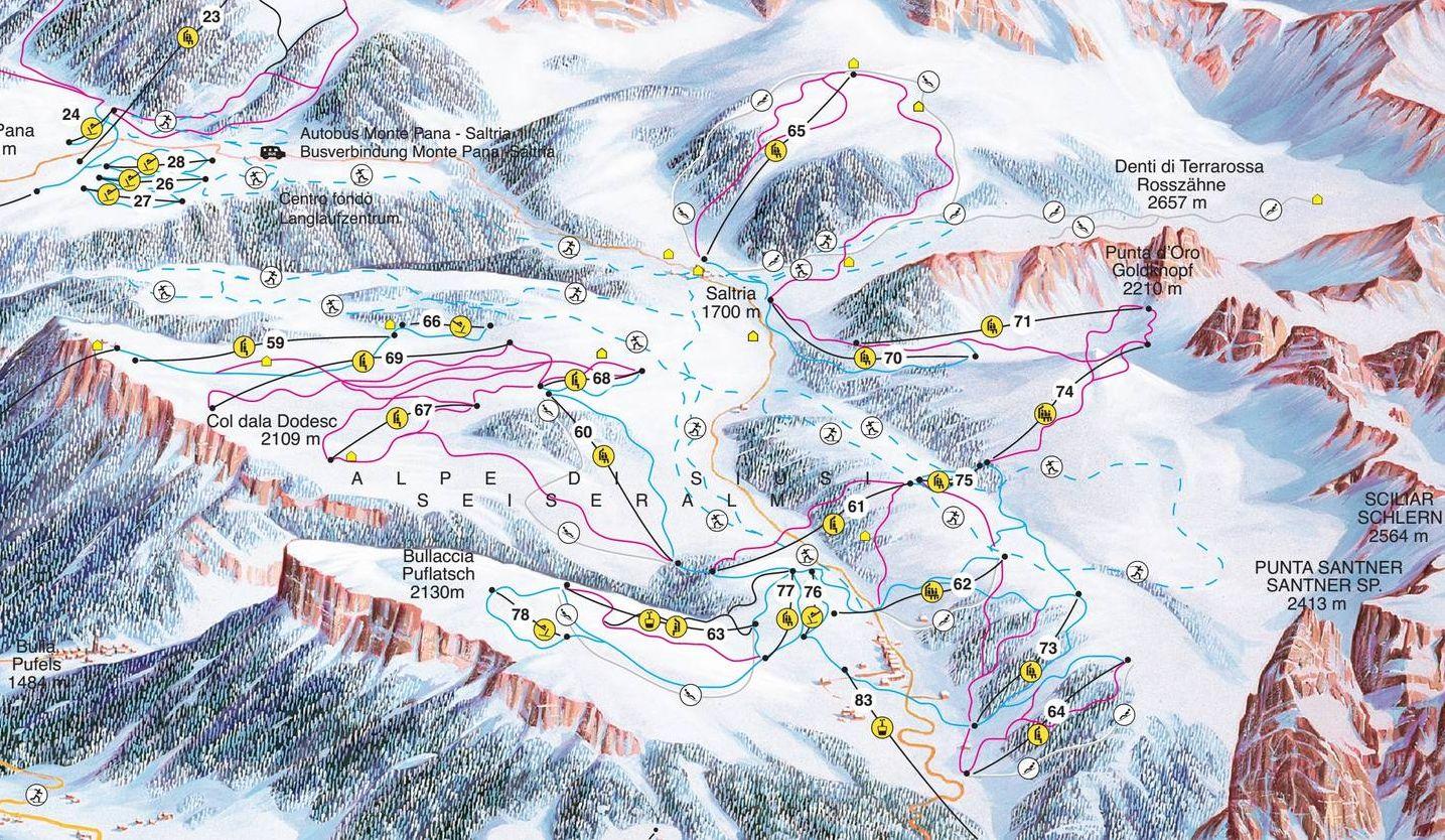 Lyžařská mapa sjezdovek areálu Seiser Alm