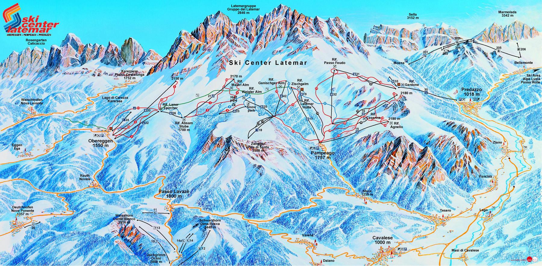 Lyžařská mapa sjezdovek areálu Ski Center Latemar