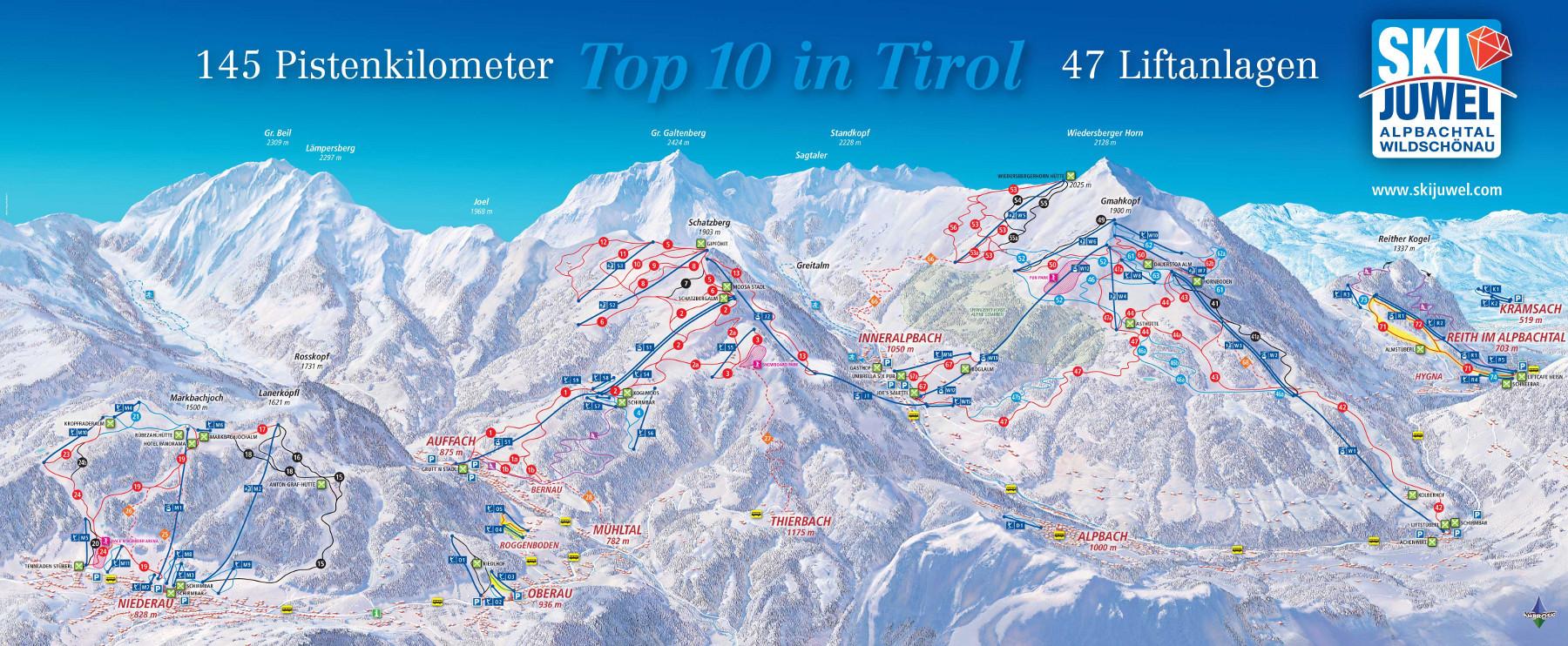 Lyžařská mapa sjezdovek areálu Ski Juwel Alpbachtal Wildschönau