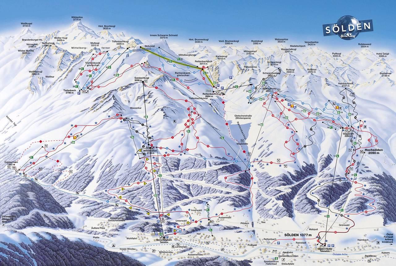 Lyžařská mapa sjezdovek areálu Sölden