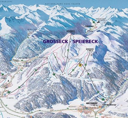 Lyžařská mapa sjezdovek areálu Speiereck - Grosseck