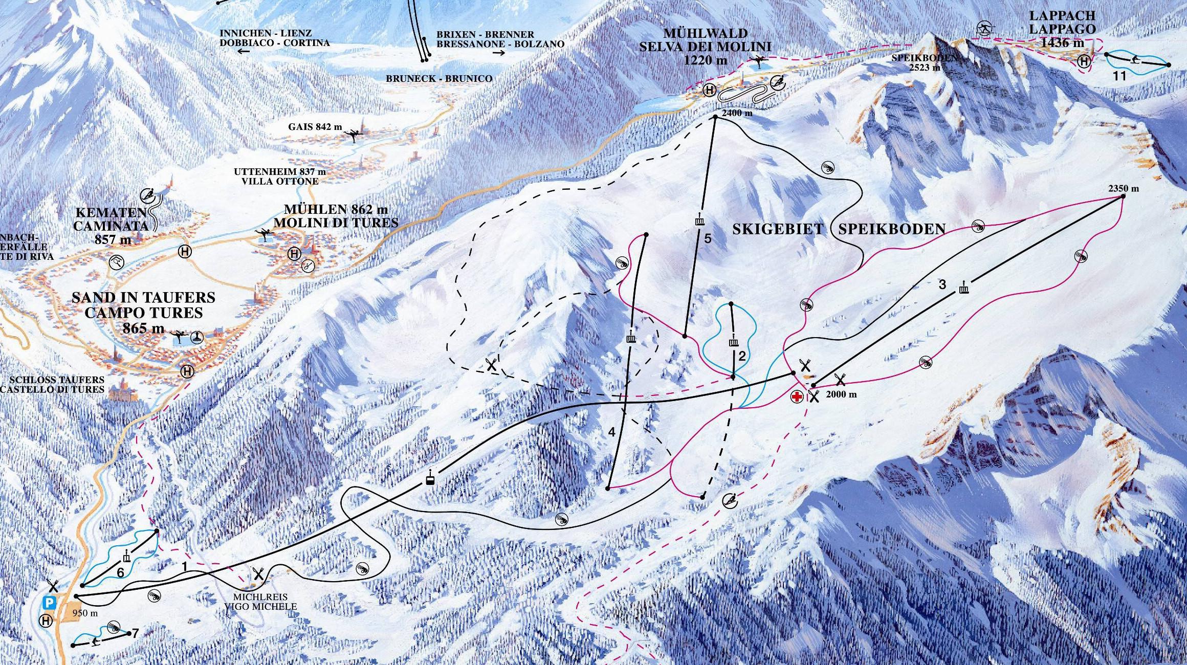 Lyžařská mapa sjezdovek areálu Speikboden