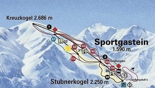 Lyžařská mapa sjezdovek areálu Sportgastein