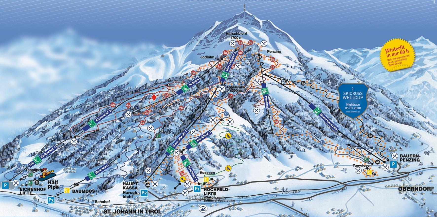 Lyžařská mapa sjezdovek areálu St. Johann in Tirol