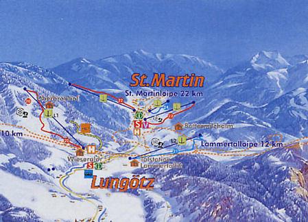 Lyžařská mapa sjezdovek areálu St. Martin