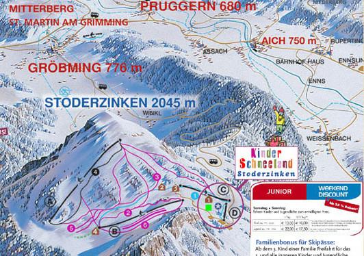 Lyžařská mapa sjezdovek areálu Stoderzinken