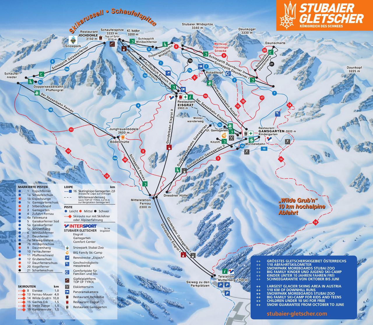 Lyžařská mapa sjezdovek areálu Schlick 2000