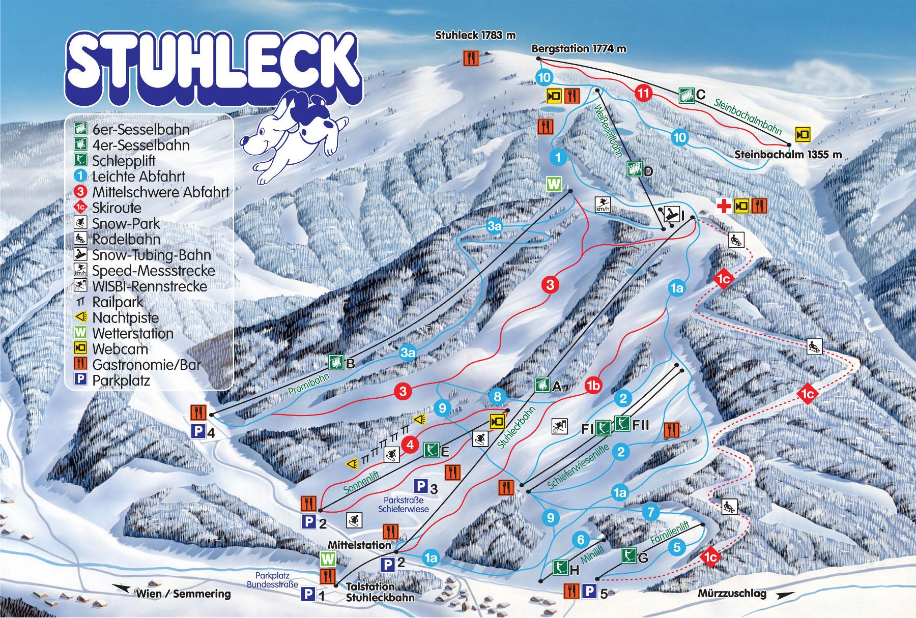 Lyžařská mapa sjezdovek areálu Stuhleck