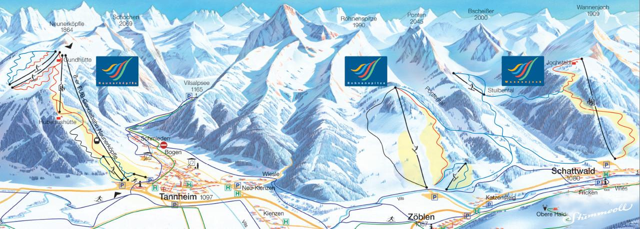 Lyžařská mapa sjezdovek areálu Tannheim - Neunerköpfle