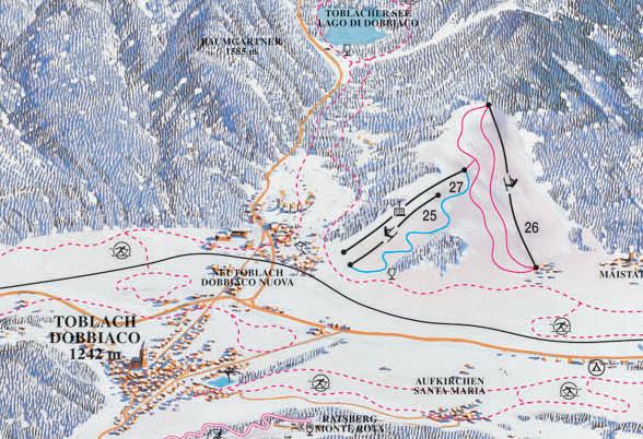 Lyžařská mapa sjezdovek areálu Toblach
