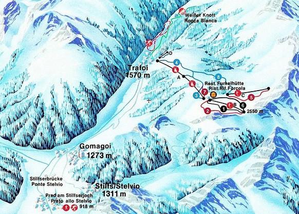 Lyžařská mapa sjezdovek areálu Trafoi