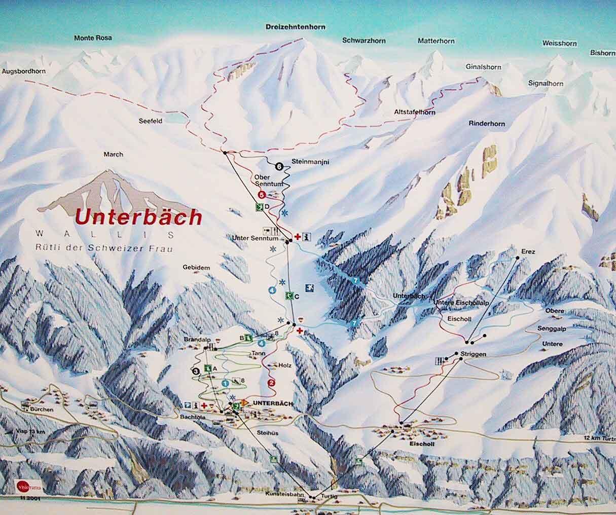 Lyžařská mapa sjezdovek areálu Unterbäch