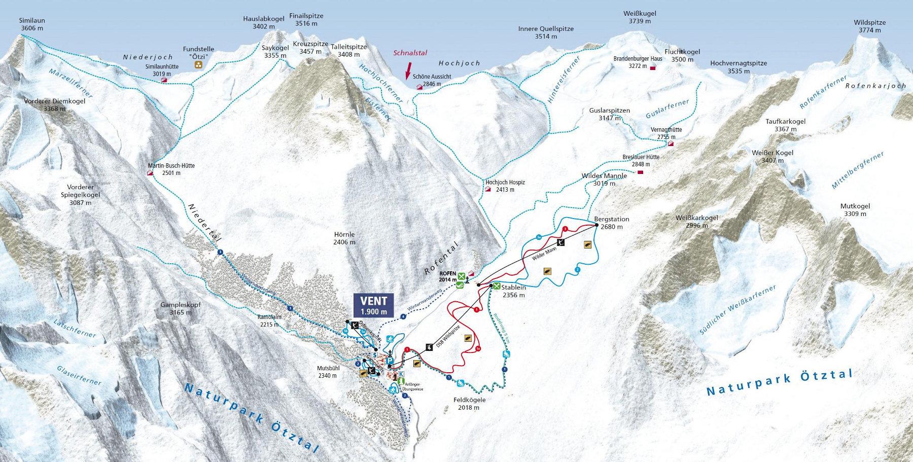 Lyžařská mapa sjezdovek areálu Vent