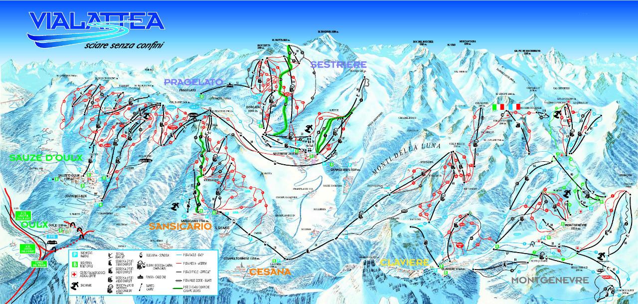 Lyžařská mapa sjezdovek areálu Sestriere / Via Lattea