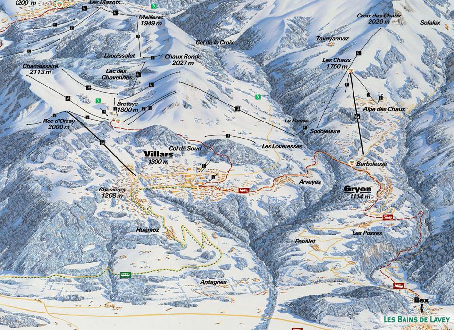 Lyžařská mapa sjezdovek areálu Villars - Gryon