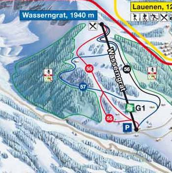 Lyžařská mapa sjezdovek areálu Gstaad Wasserngrat