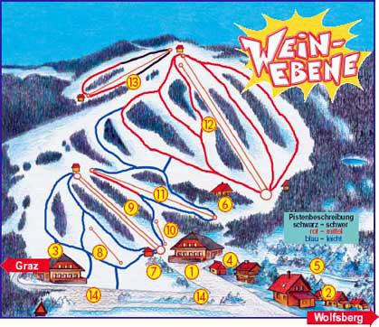 Lyžařská mapa sjezdovek areálu Weinebene