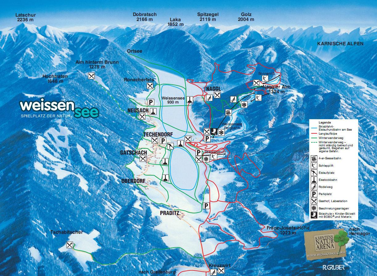 Lyžařská mapa sjezdovek areálu Weissensee (Naggler Alm)