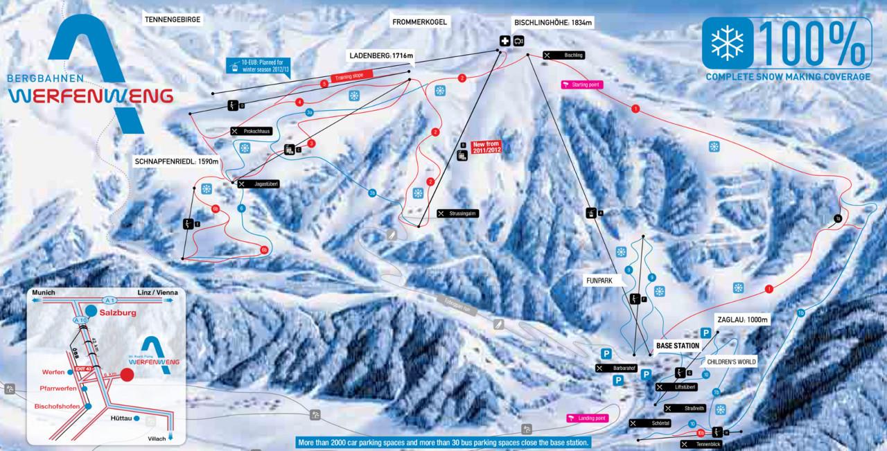 Lyžařská mapa sjezdovek areálu Werfenweng