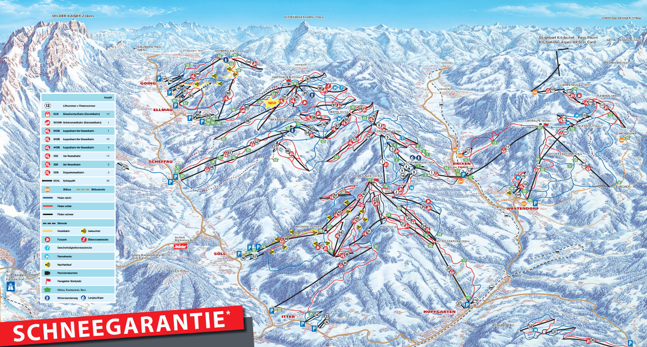 Lyžařská mapa sjezdovek areálu SkiWelt Wilder Kaiser - Brixental