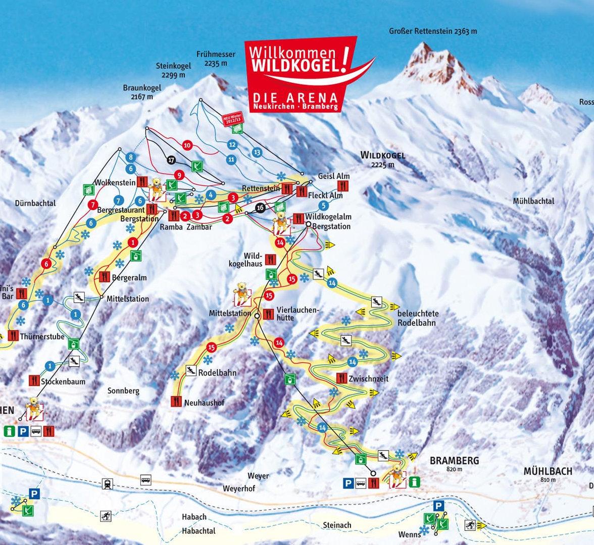 Lyžařská mapa sjezdovek areálu Wildkogel Arena