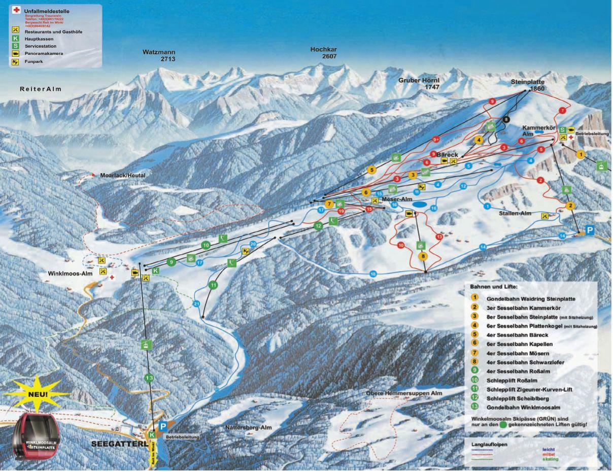 Lyžařská mapa sjezdovek areálu Winklmoos - Steinplatte