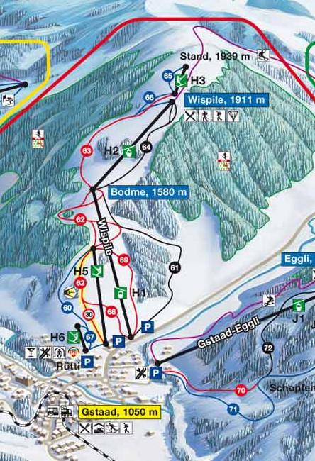 Lyžařská mapa sjezdovek areálu Wispile