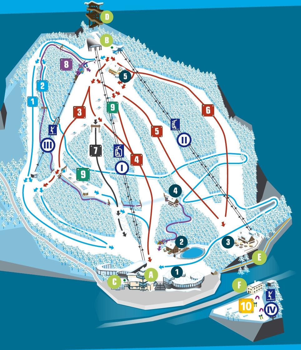 Lyžařská mapa sjezdovek areálu Zauberberg Semmering