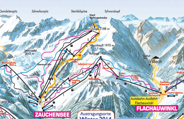 Lyžařská mapa sjezdovek areálu Zauchensee - Flachauwinkl