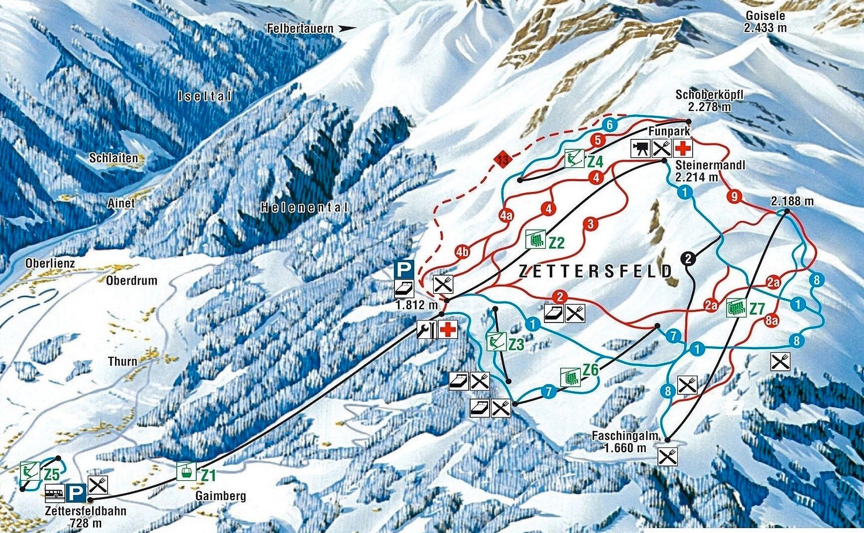 Lyžařská mapa sjezdovek areálu Zettersfeld / Hochlienz