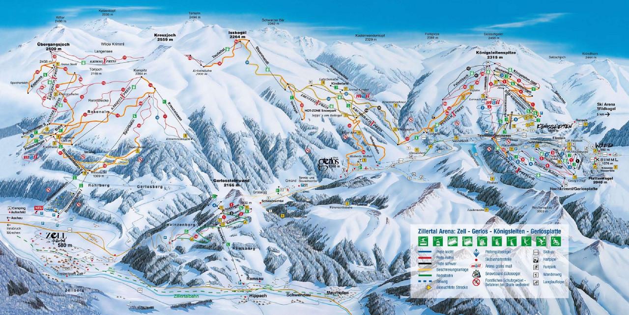 Lyžařská mapa sjezdovek areálu Zillertal Arena