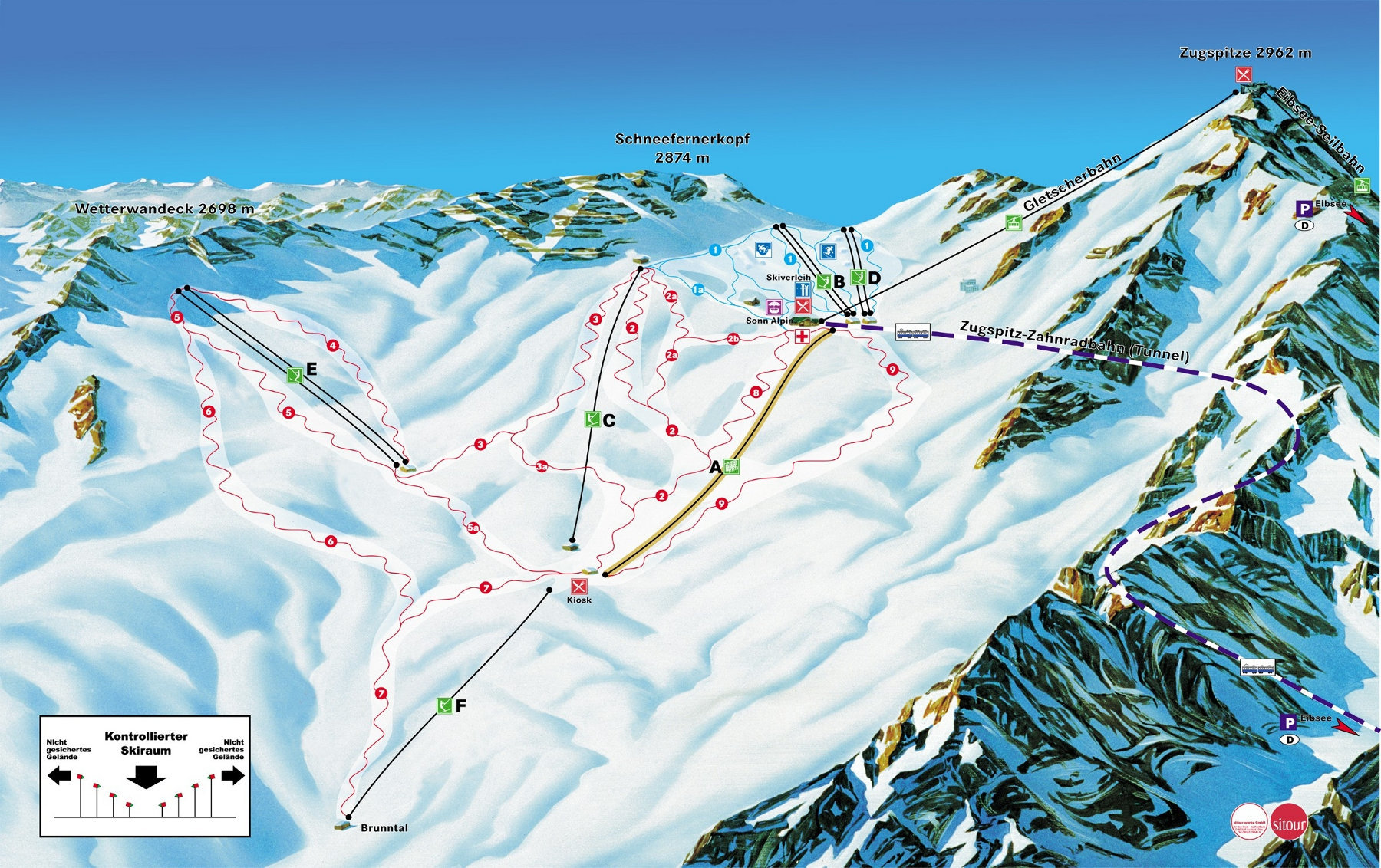 Lyžařská mapa sjezdovek areálu Zugspitze