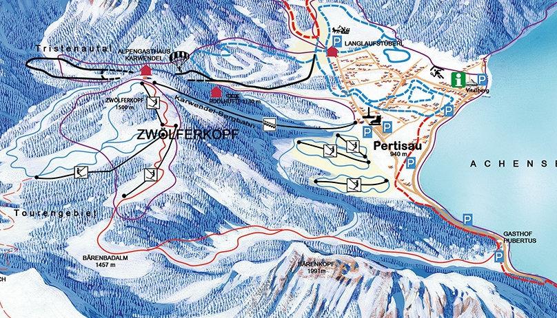 Lyžařská mapa sjezdovek areálu Zwölferkopf